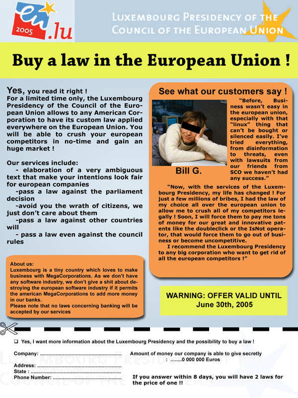 Buy a law in the European union - depliant